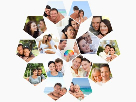 Montage of loving young couples