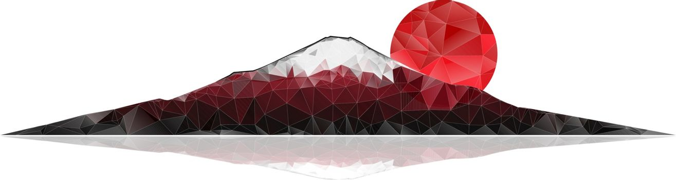 Mount Fuji and red rising sun on a white background. Abstract polygonal vector illustration.