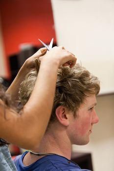 Portrait of a man having a haircut