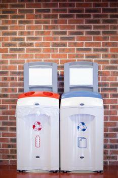 Portrait of recycling bins