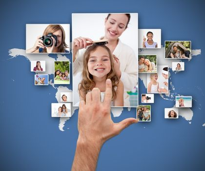 Hand selecting pictures