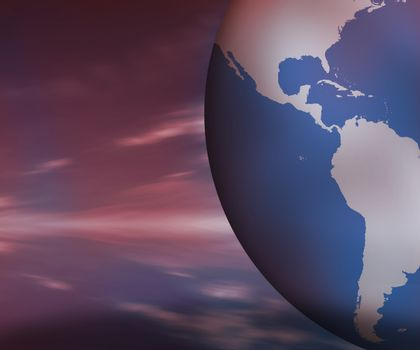 North and South America on globe