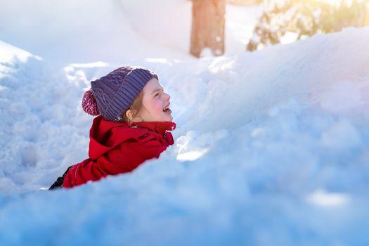 Happy child in the snow