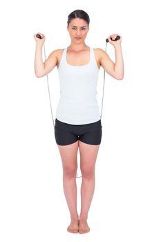 Peaceful slender model jumping rope