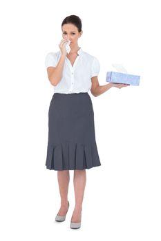 Sad businesswoman crying