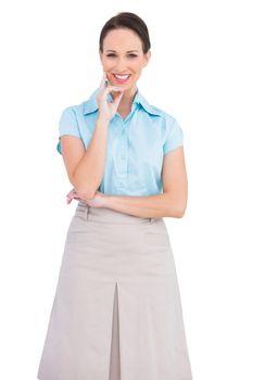 Cheerful classy businesswoman posing
