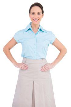 Smiling classy businesswoman posing