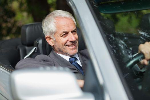 Smiling businessman driving expensive cabriolet