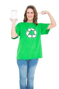 Environmental activist pointing at glass