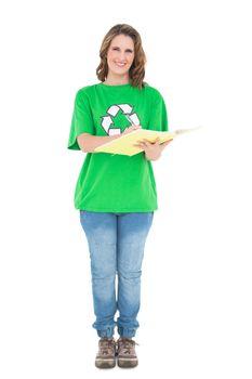 Smiling environmental activist writing