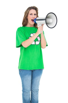 Environmental activist screaming in a megaphone