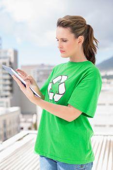 Environmental activist using tablet