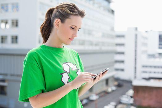 Environmental activist using her phone