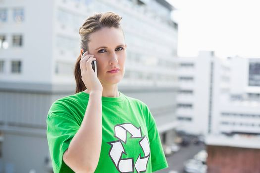 Environmental activist talking on the phone