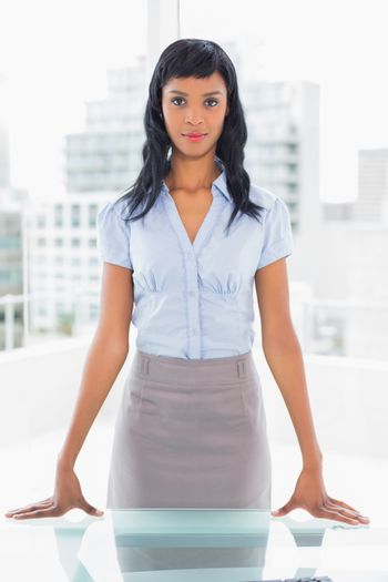 Dynamic businesswoman standing at her desk