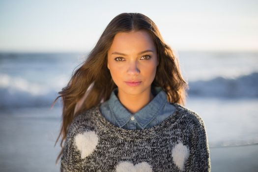 Relaxed gorgeous woman with pullover posing