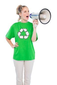Energetic environmental activist shouting in megaphone