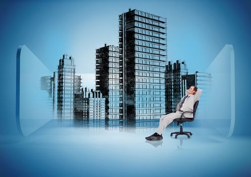 Businessman on swivel chair looking at holographic city