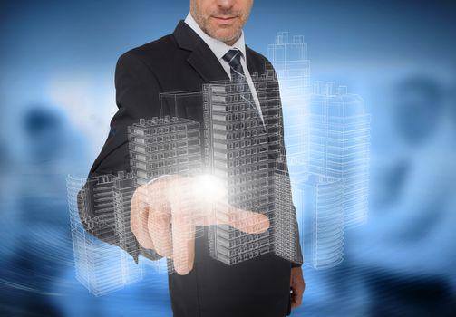 Businessman touching holographic faint city