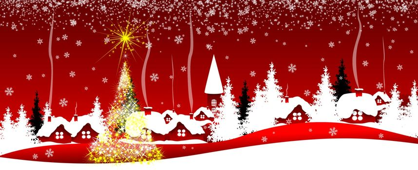 Christmas red banner. Night scene of a Christmas holiday on a red background.
