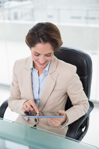 Content businesswoman using tablet