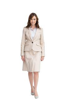 Beautiful businesswoman stepping forward