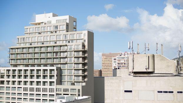 View of huge buildings
