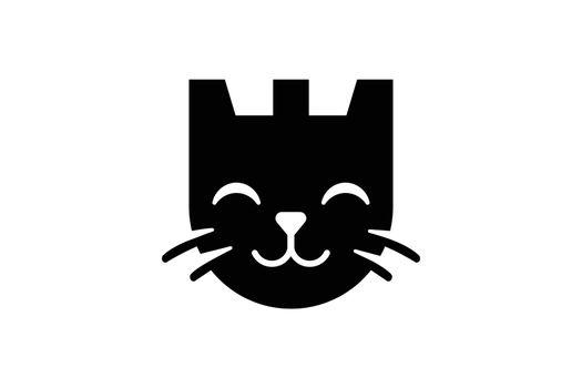 Castle and cat logo cat security logo design