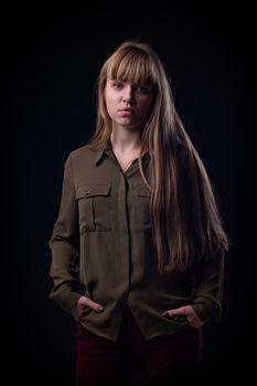 Portrait of a blue-eyed slum girl