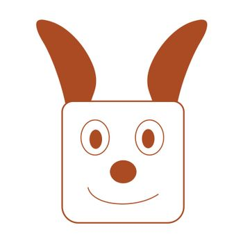 Vector dog face flat design on a white background. Cute square pet