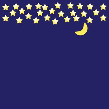 Dark night vector background. Yellow stars and moon on blue sky. Flat simple style for any web design or textile