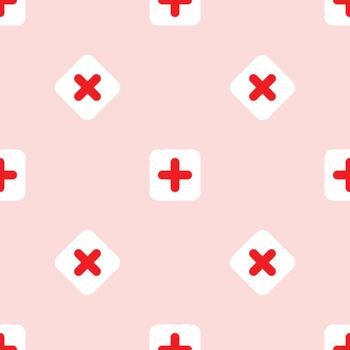Minimal flat medical and healthy conceptual pictogram seamless pattern background vector