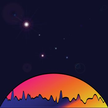 Nature vector background, landscape with forest and sun. Evening panorama of forest or wilderness on sunset. Dark starry sky