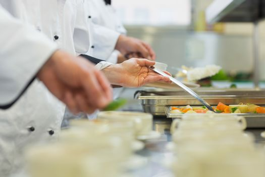 Chefs standing in a row preparing food in a modern kitchen