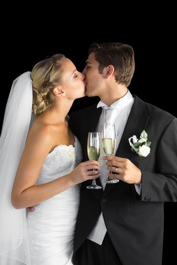 Lovely married couple kissing each other