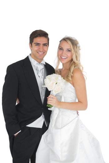 Happy married couple posing