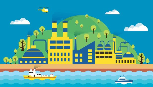 Urban landscape of the city. Ecology, environmental protection the production, factory, pollution, smoke, building. The sea with merchant ships and waves. Vector illustration flat