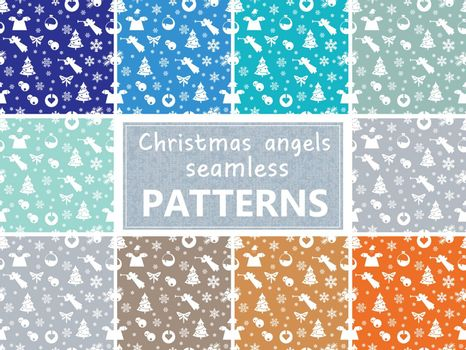 Christmas pastel retro vector patterns tiling. Endless texture can be used for printing onto fabric and paper or scrap booking, surface textile, web page background. New Year abstract shapes.