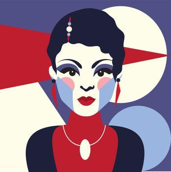 Fashion woman portrait art deco style. Flat design. Vector