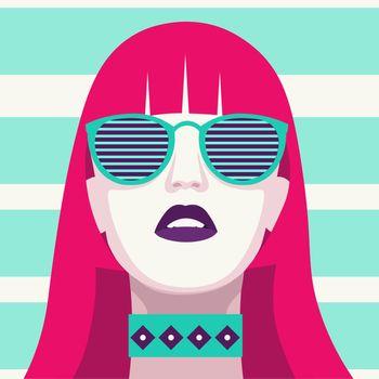 Fashion woman with sunglasses . Art portrait.  Flat design. Vector.
