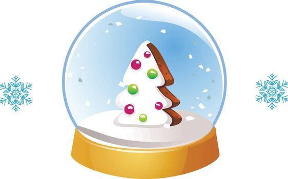 Christmas snow globe with snowflakes isolated on white background. Vector illustration. Winter in glass ball