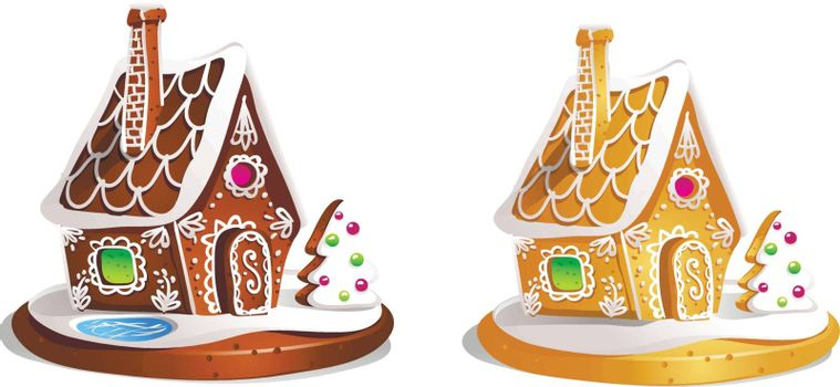 Two gingerbread houses. Cute hand drawn honey cakes. Traditional sweet Christmas treat. Colorful vector illustration