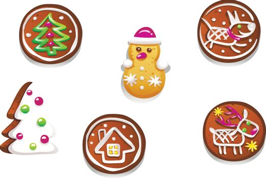 Set of various gingerbread figures. Cute hand drawn honey cakes. Traditional sweet Christmas treat. Colorful vector illustration