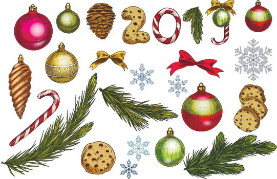 Christmas and New Year decoration set with pine tree branches, balls, bows, snowflakes, cones and sweets. Festive vector elements for design or greeting cards
