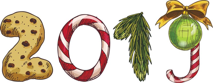 Happy 2019 New Year numbers with pine tree branch, ball, bow, cookie and candy. Festive vector elements for design or greeting cards