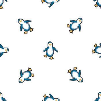 Seamless pattern with penguins. Cute pixel penguins. 8 bit vector illustration. Winter animals pattern