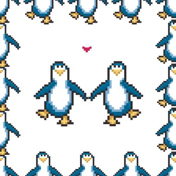 Seamless pattern with penguins in love. Cute pixel penguins. 8 bit vector illustration. Winter animals pattern