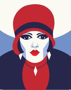 Fashion woman with hat. Portrait art deco style. Flat design. Vector.