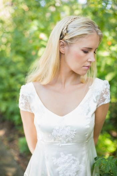 Content beautiful blonde bride