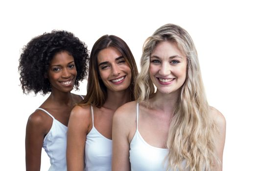 Multiethnic women standing together on white background